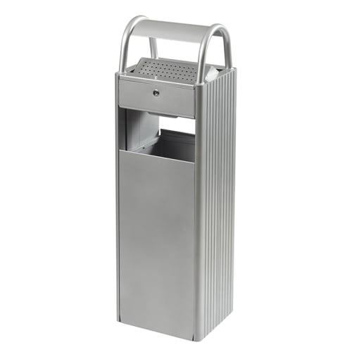 Combiné cendrier poubelle métal 6L/30L gris photo du produit
