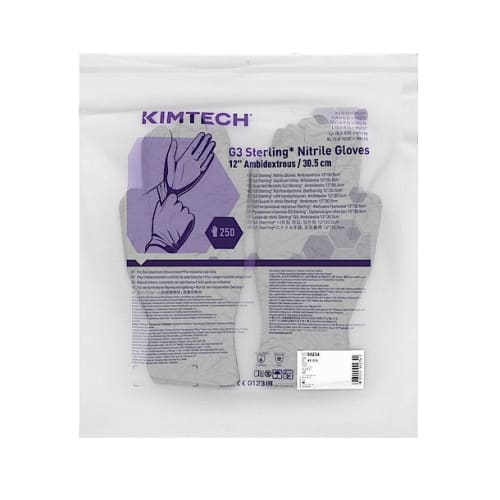 Gant de protection chimique nitrile Kimtech Pure G3 Sterling gris non poudré 30cm taille L photo du produit Side View L