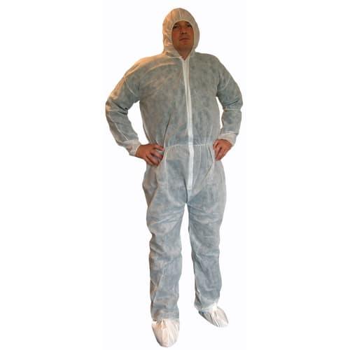 Combinaison de travail Poligard PLP 40g/m² cagoule poche arrière élastiques cagoule poignets taille chevilles blanc taille L photo du produit