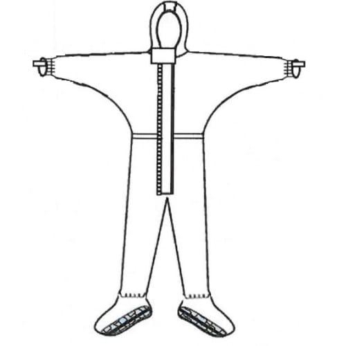 Combinaison de protection Jetguard Plus type 3 poignets jersey couvre-manches élastiqués surbottes à semelles antistatiques ESD élastiques cagoule taille chevilles gris taille XL photo du produit