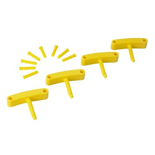 Lot de 4 crochets pour support mural jaune photo du produit