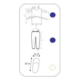 Kit ambulatoire 3 pièces (blouse opéré SMS bleu foncé, pantalon SMS à liens bleu foncé, mules confort blanches) taille M photo du produit