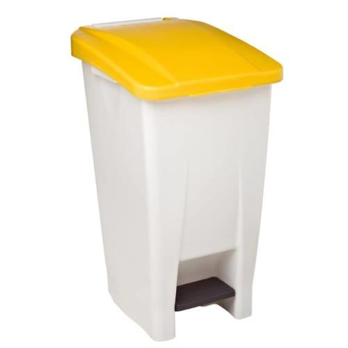 Poubelle mobile plastique à pédale 60L blanc/jaune photo du produit