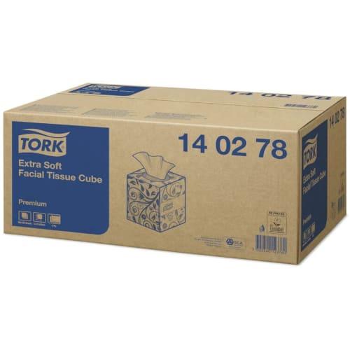 Boîte de mouchoirs blancs 2 plis 21 x 21 cm certifié Ecolabel photo du produit Side View L