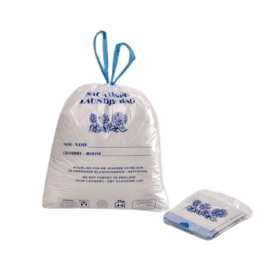 Sac plastique PE BD 30L blanc avec impression 24µm lien coulissant photo du produit