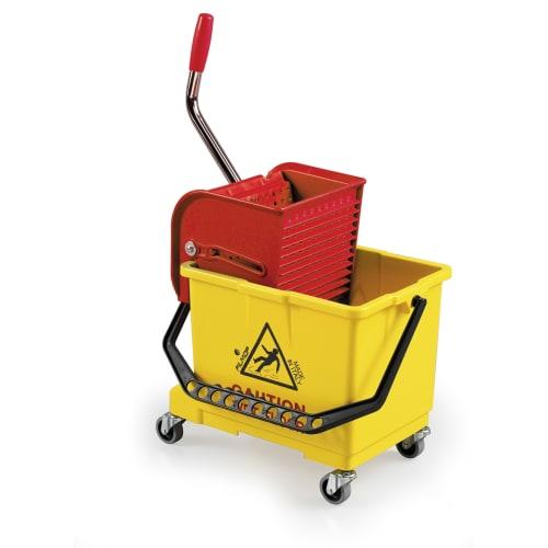 Seau PLP 15L jaune avec roues et presse à plat photo du produit