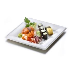 Assiette fibres végétales carrée 200 x 200mm blanc photo du produit