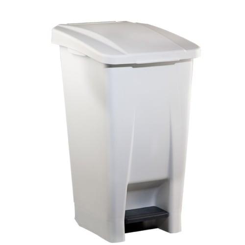 Poubelle mobile plastique à pédale 60L blanc photo du produit