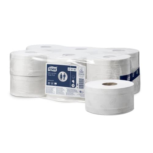 Papier toilette rouleau mini géant blanc 2 plis 180 m prédécoupé 9,5 x 20 cm certifié Ecolabel photo du produit