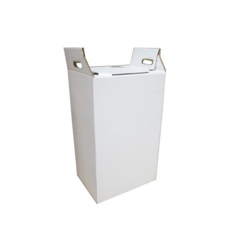 Carton hospitalier non normé 50L bas lien cranté blanc photo du produit