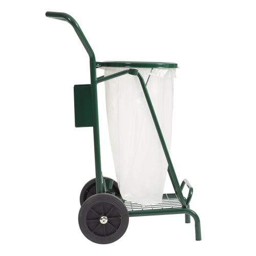 Chariot métal porte sacs mobile 110L vert photo du produit Back View L