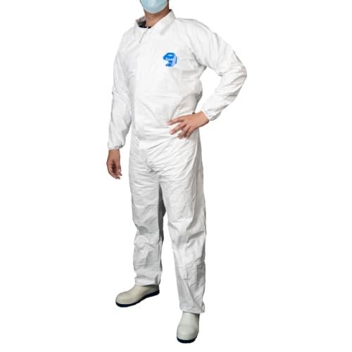 Combinaison Tyvek Industry type 5-6 col chemise élastiques poignets taille chevilles blanc taille L photo du produit