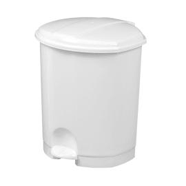 Poubelle plastique à pédale 7L blanc photo du produit