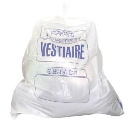 Sac plastique PE BD 40L blanc 30µm lien coulissant photo du produit