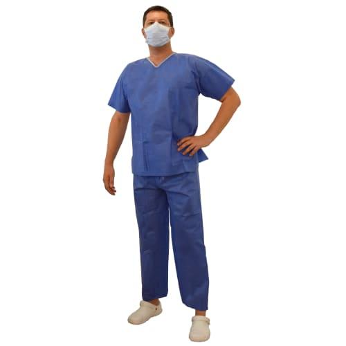 Pyjama SMS 35g/m² antistatique tunique 3 poches pantalon à liens bleu taille XXL photo du produit