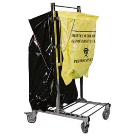 Chariot double supports petits et grands sacs inox photo du produit