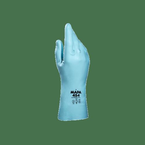 Gant de protection chimique UltraNitril 454 (ex Optimo 454) latex turquoise flocké coton hypoallergénique 31cm taille 9/9,5 photo du produit