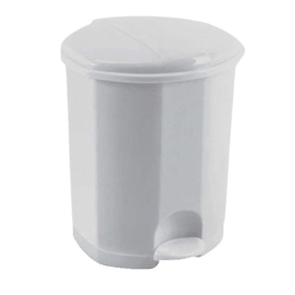Poubelle plastique à pédale 50L blanc photo du produit