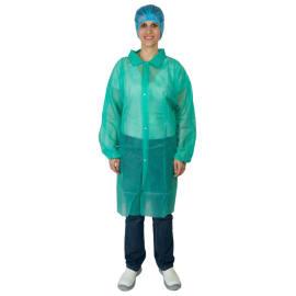 Blouse de travail PLP 25g/m² 4 pressions col chemise élastiques poignets vert taille XL photo du produit