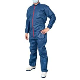 Combinaison de travail Poliguard PLP 70g/m² col Mao 2 poches élastiques poignets tailles chevilles bleu taille L photo du produit