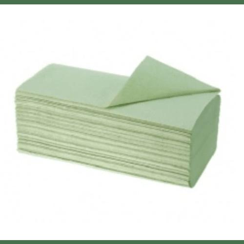 Essuie-mains plié vert 2 plis 25,3 x 21 cm certifié Ecolabel photo du produit