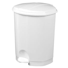 Poubelle plastique à pédale 18L blanc photo du produit