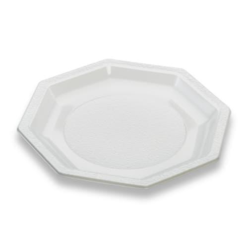 Assiette plastique octogonale Ø185mm blanc photo du produit