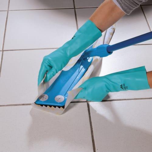 Gant de protection chimique UltraNitril 454 (ex Optimo 454) latex turquoise flocké coton hypoallergénique 31cm taille 9/9,5 photo du produit Back View L