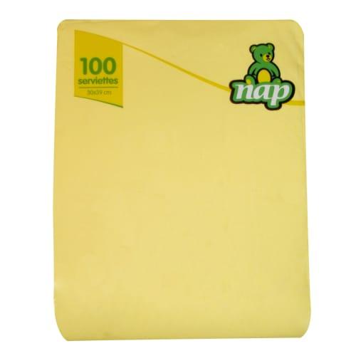 Serviette papier 2 plis 30 x 39 cm jaune photo du produit