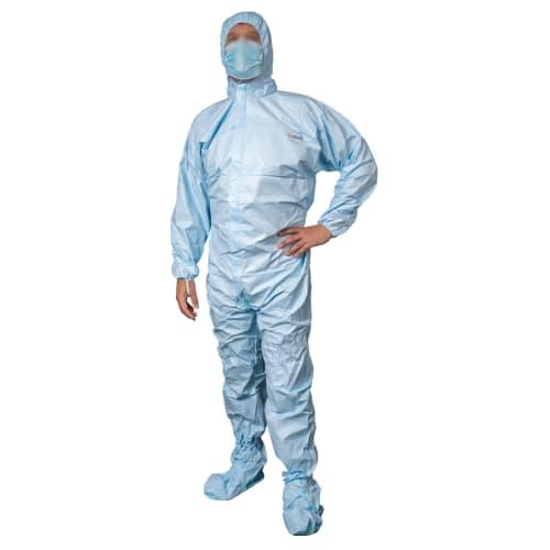 Combinaison de protection Partiguard type 5-6 cagoule surchaussures semelles antistatiques passe-pouces élastique bleu taille L photo du produit