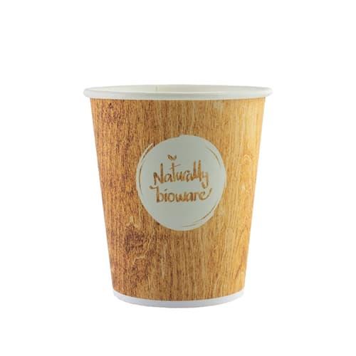 Gobelet carton compostable Bioware 15cl impression bois photo du produit