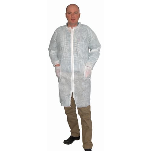 Blouse de laboratoire Poligard PLP 50g/m² zip col Mao 2 poches blanc taille L photo du produit