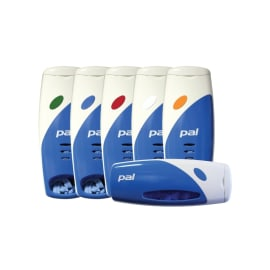 Distributeur mural PVC multi-produits usage unique bleu et blanc photo du produit
