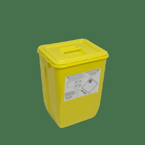KIT fût DASRI VAT 5 50L rectangulaire jaune et couvercle à poignée photo du produit
