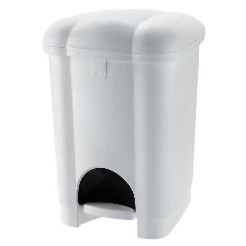 Poubelle plastique à pédale 6L blanc photo du produit