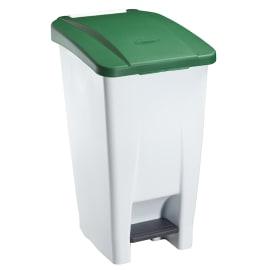 Poubelle mobile plastique à pédale 60L blanc/vert photo du produit