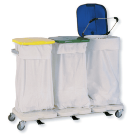 Chariot linge 3 sacs 1180 x 410 x 880 mm avec couvercle à commande au pied photo du produit