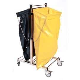 Chariot double supports moyens et grands sacs inox photo du produit