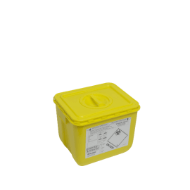 KIT fût DASRI VAT 5 30L rectangulaire jaune et couvercle à obturateur photo du produit