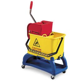 Seau bi-bac PLP 2 x 8L jaune avec roues, support porte-produits et presse photo du produit