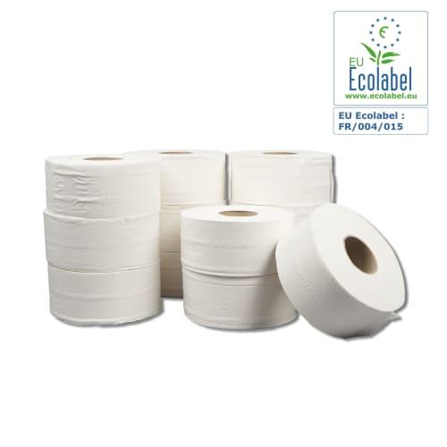 Papier toilette rouleau mini géant blanc 2 plis 180m prédécoupé 8,5 x 24 cm certifié Ecolabel photo du produit