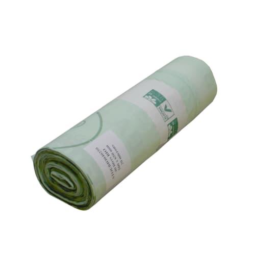 Sac plastique biodégradable 40L vert 20µm lien coulissant photo du produit