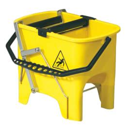 Seau bi-bac PLP 2 x 8L jaune avec rouleaux essoreurs à pédale photo du produit