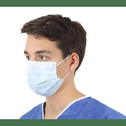 Masque d hygiène 3 plis Safe+Mask haute filtration bleu à élastiques photo du produit