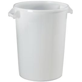 Poubelle plastique avec poignées 100L blanc agrée contact alimentaire photo du produit