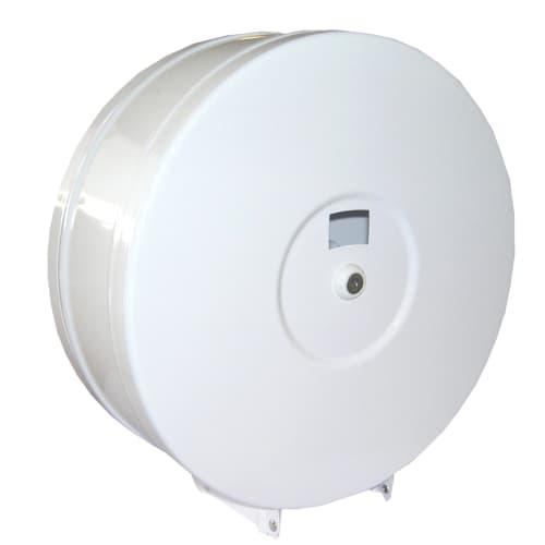 Distributeur de papier toilette en métal blanc pour rouleaux géants avec serrure photo du produit