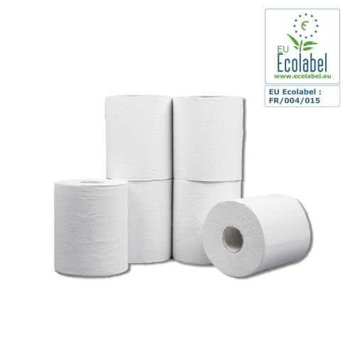 Bobine d essuyage dévidage central EcoCompact blanche 800 formats 2 plis 18,6 x 19 cm certifié Ecolabel photo du produit