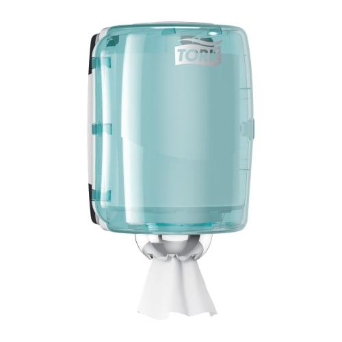 Distributeur d essuyage dévidage central M2 turquoise/blanc photo du produit Back View L