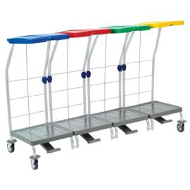 Chariot de ramassage linge 4 supports avec pédale photo du produit