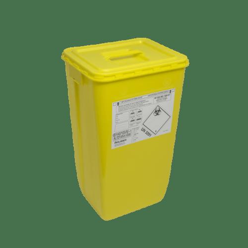 KIT fût DASRI VAT 5 60L rectangulaire jaune et couvercle à poignée photo du produit
